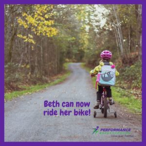 Beth can now ride her bike!